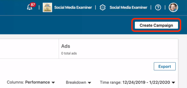 screenshot of Create Campaign button in LinkedIn Campaign Manager