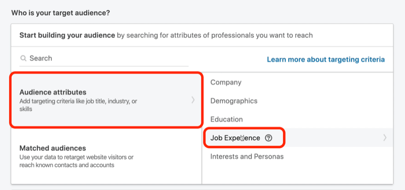 screenshot of Who Is Your Audience? section in LinkedIn campaign setup