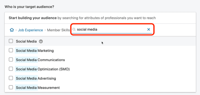 screenshot of search results for 'social media' member skills on LinkedIn