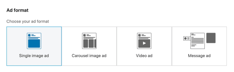 screenshot of Single Image Ad option selected for LinkedIn ad format