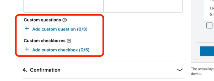 screenshot of Custom Questions and Custom Checkboxes fields for lead gen form in LinkedIn ad setup