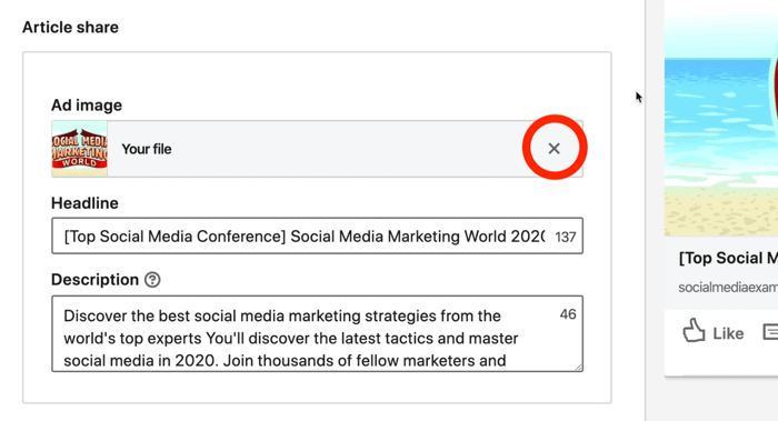screenshot of X button circled in red next to LinkedIn ad image during setup