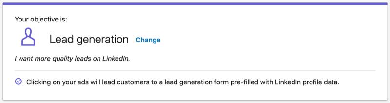 LinkedIn Lead Generation objective