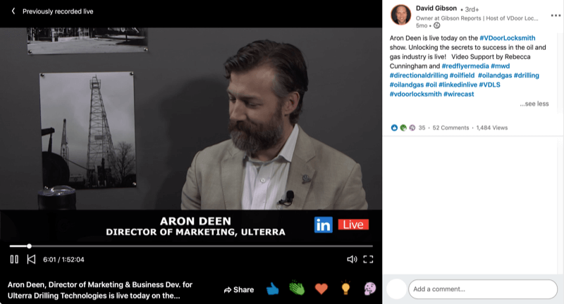 LinkedIn live video example