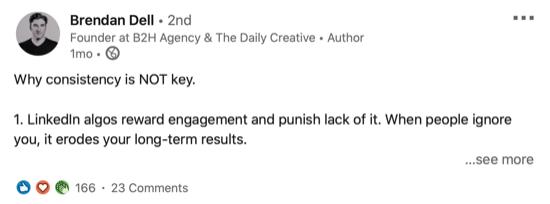 voorbeeld van een LinkedIn-bericht dat een tegengestelde mening deelt