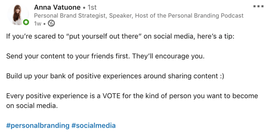 example of LinkedIn post with hashtags