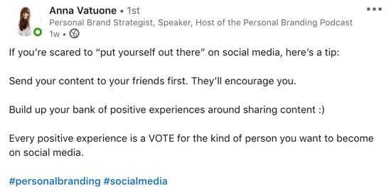 voorbeeld van LinkedIn-bericht met hashtags