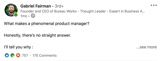 example of LinkedIn post asking question