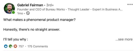 voorbeeld van een LinkedIn-post met een vraag