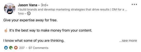 voorbeeld van een LinkedIn-bericht met witruimte voor leesbaarheid