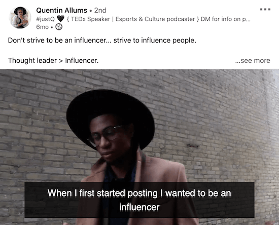 LinkedIn video with captions example