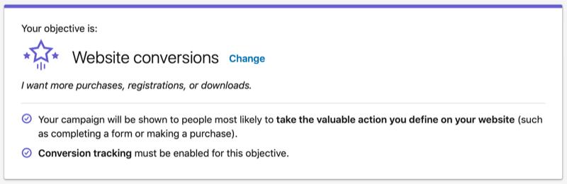LinkedIn Website Conversions objective