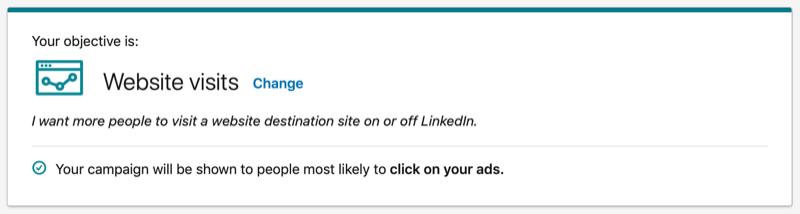 LinkedIn Website Visits objective