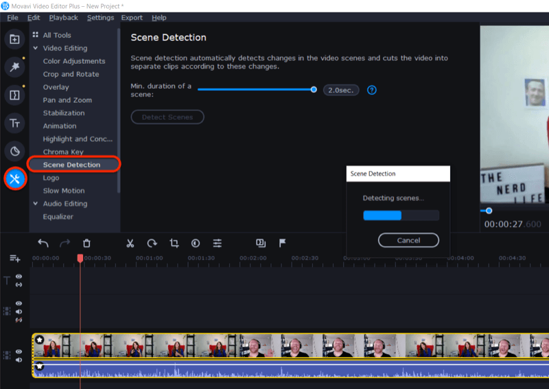 access Scene Detection feature in Movavi Video Editor Plus