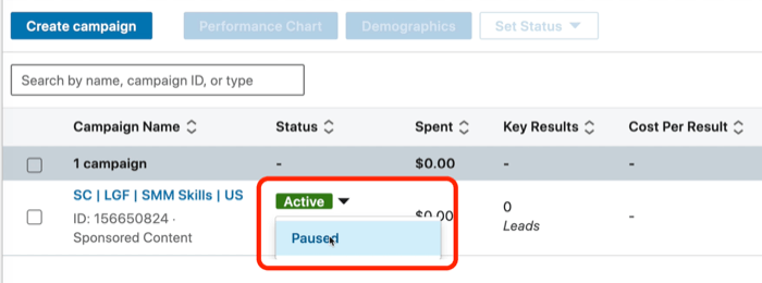 screenshot of Paused option in LinkedIn Campaign Manager