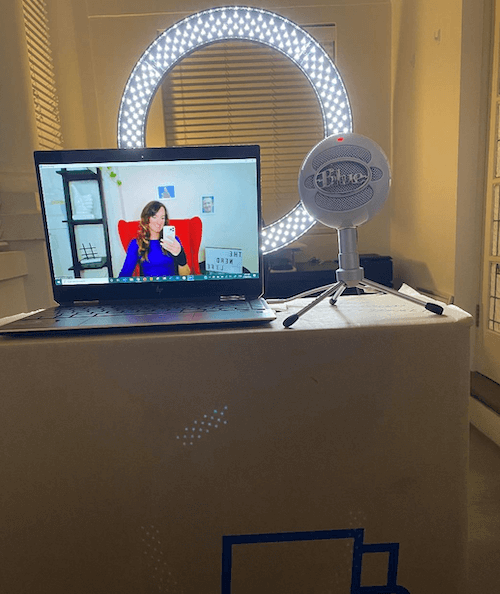 example of home recording setup with microphone and light to capture audio and video
