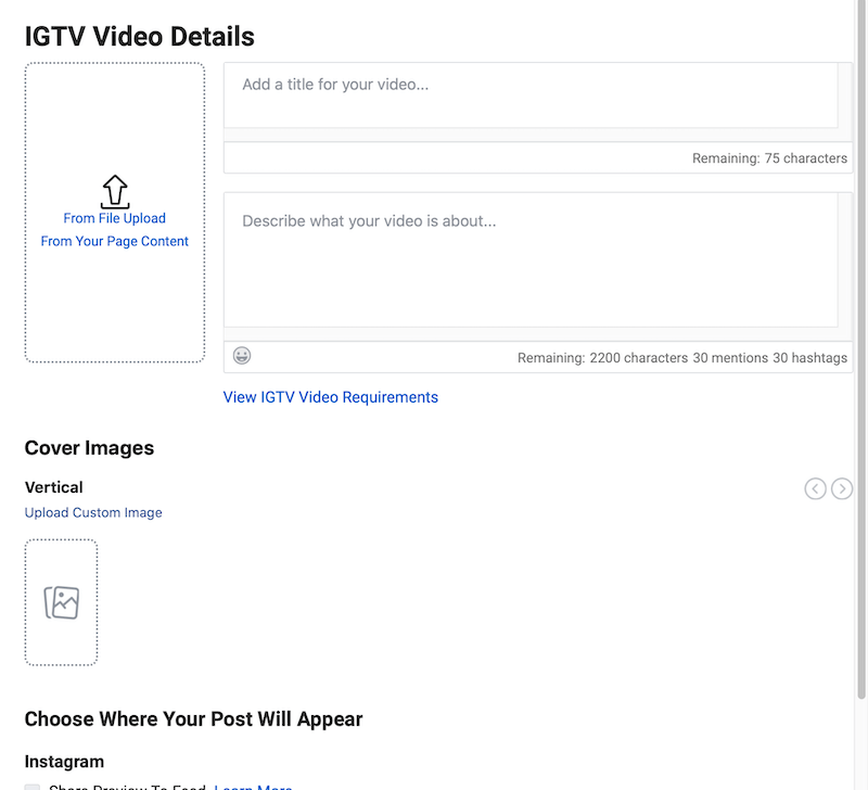 create IGTV post in Creator Studio