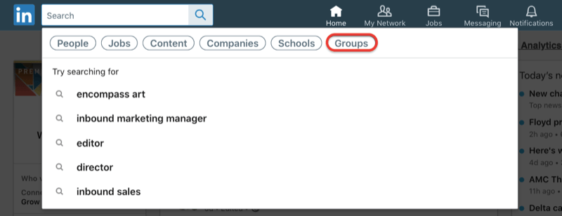 search for LinkedIn groups