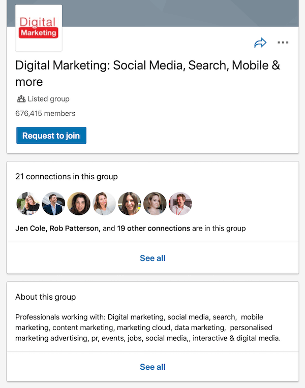 example of LinkedIn group page
