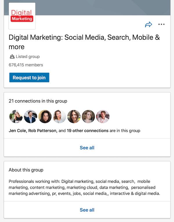 voorbeeld van een LinkedIn-groepspagina