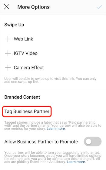 Tag Business Partner-optie voor Instagram-verhalen