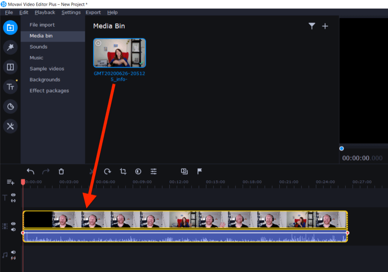 drag video into editing field in Movavi Video Editor Plus