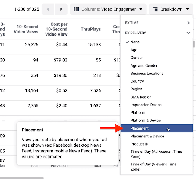 Breakdown drop-down menu in Facebook Ads Manager