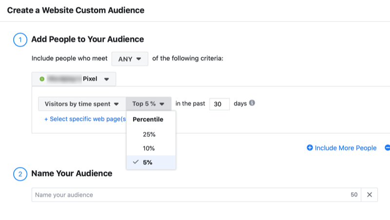 set up Facebook website custom audience by time spent
