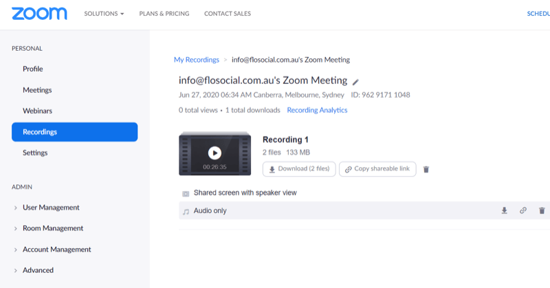 access audio recording from Zoom