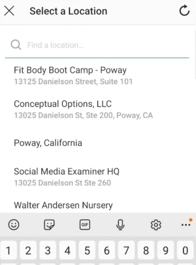Menübeispiel für die Option Standort auswählen für das Instagram-Standort-Tag