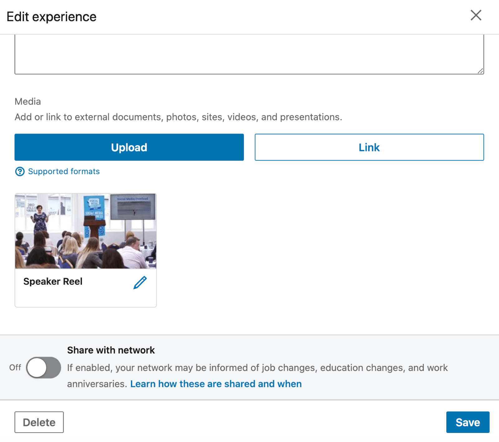 linkedin experience section showing the option to upload an external video, among other items