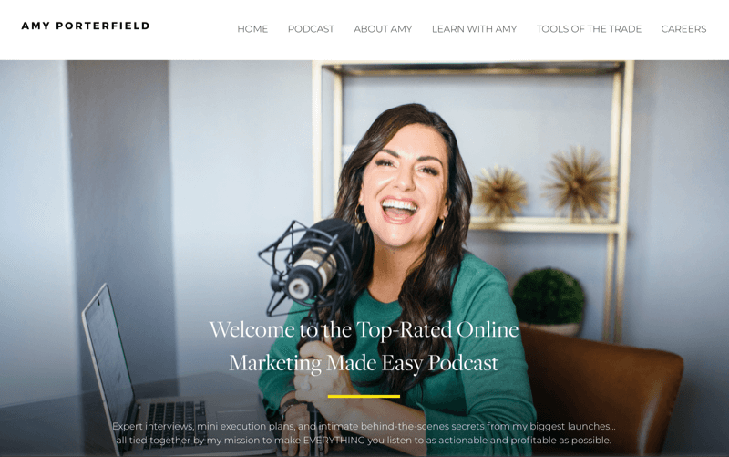 screenshot of amy porterfield's podcast site page