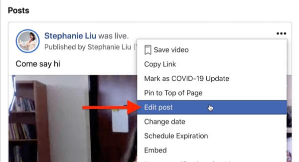 optie om het bericht van de Facebook-livestream te bewerken onder het menu met drie stippen in de rechterbovenhoek van het streambericht
