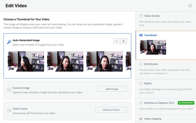 facebook livestream video bewerken optie een automatisch gegenereerde miniatuurafbeelding kiezen
