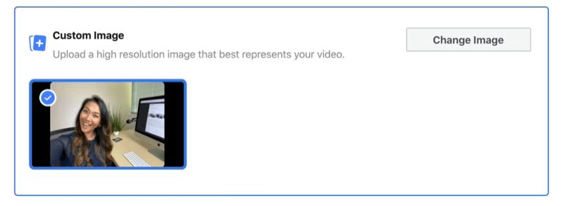 optie om een aangepaste afbeelding te gebruiken voor de miniatuur van uw Facebook-livestream