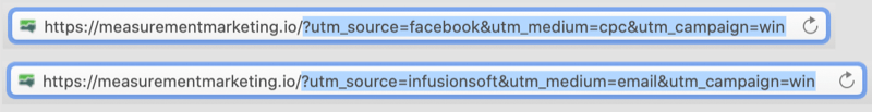 example of urls with utm tags coded in with the utm portion of the urls highlighted showing facebook / cpc and infusionsoft / email as parameters for the campaign of win
