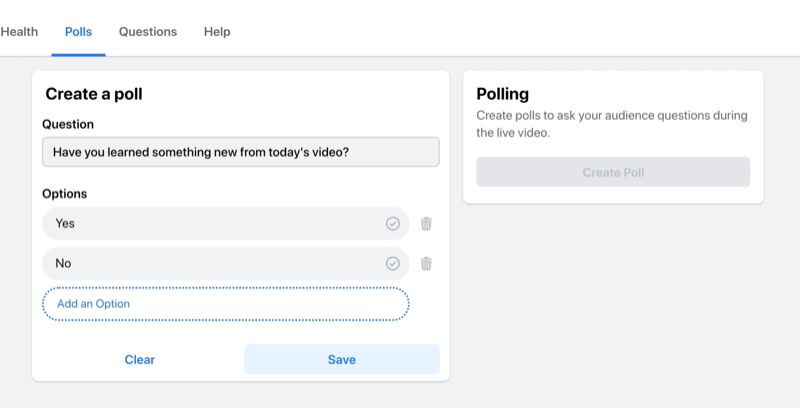 facebook live stream option to create a poll