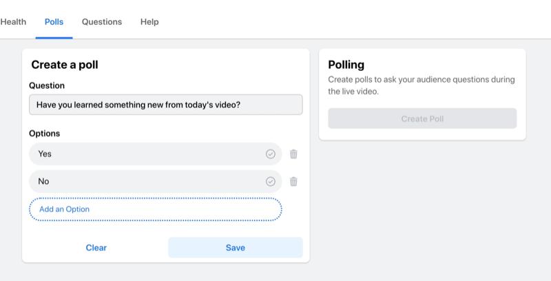 facebook live stream optie om een poll te maken