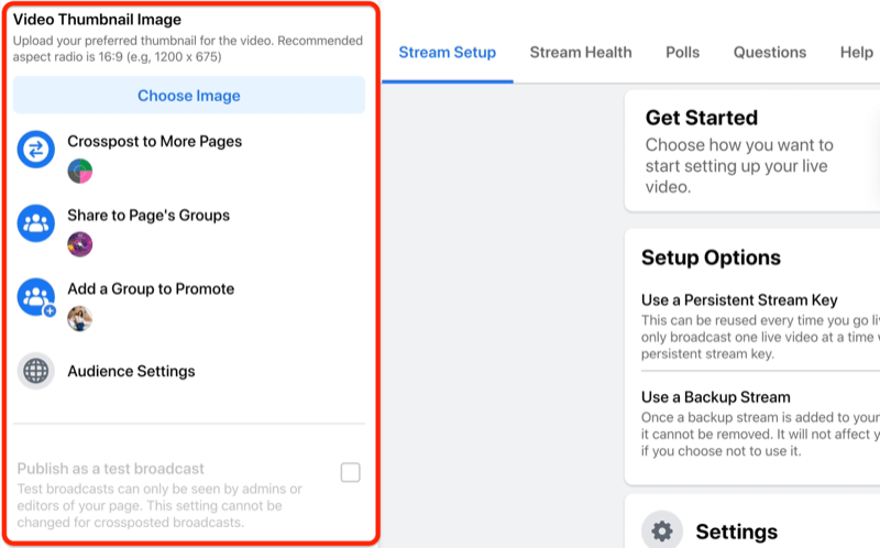 facebook live stream setup option to select the thumbnail image for your video