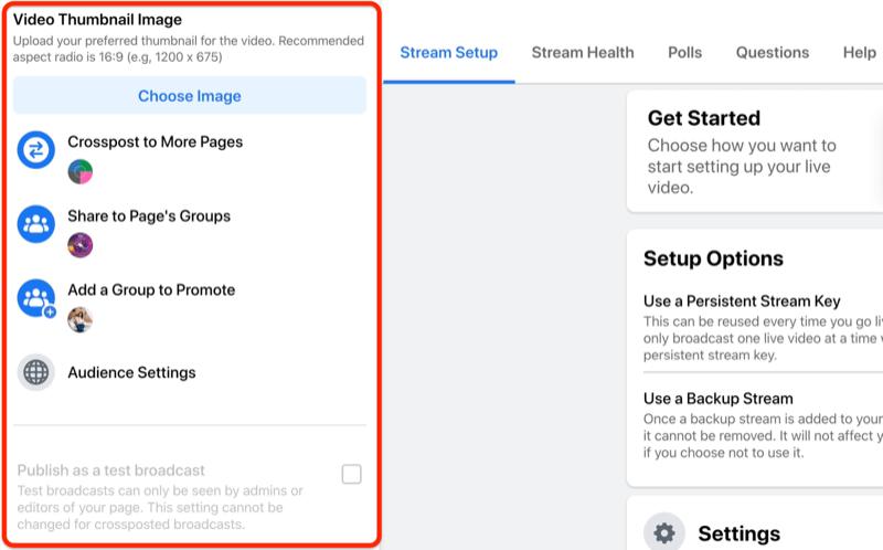 facebook live stream setup-optie om de miniatuurafbeelding voor je video te selecteren