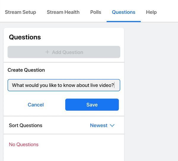 facebook livestream-optie om een vraag te posten waarop je kijkers en publiek kunnen reageren tijdens je uitzending