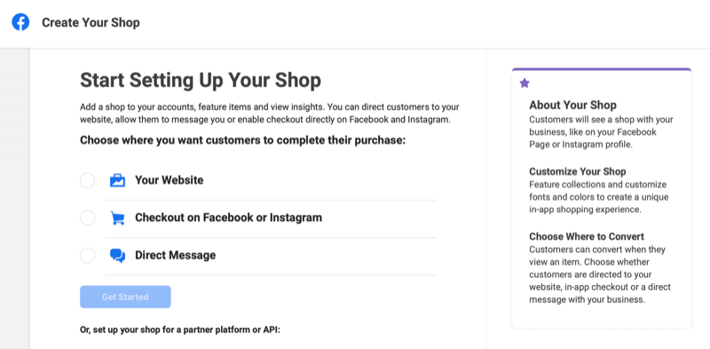the create your shop stage of the commerce manager account on facebook