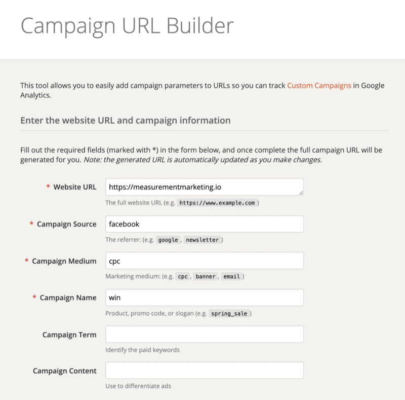 screenshot of the google campaign url builder