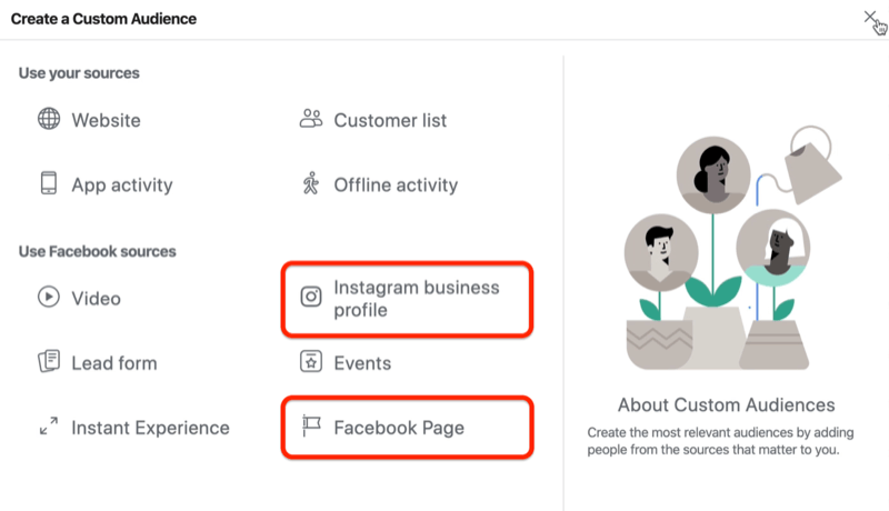 screenshot of the Create a Custom Audience window with the Instagram Business Profile and Facebook Page options circled in red