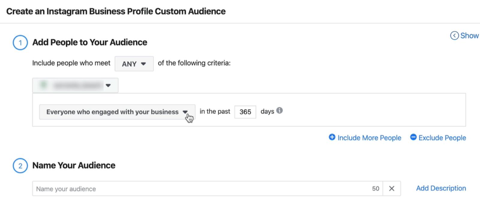 """屏幕快照是""""创建Instagram业务配置文件自定义受众""""窗口的屏幕快照,其中包含过去365天内与您的业务相关的所有人的默认设置"""