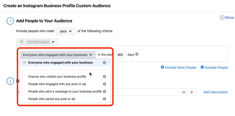 screenshot of the Everyone Who Engaged With Your Business drop-down menu options in the Create an Instagram Business Profile Custom Audience window