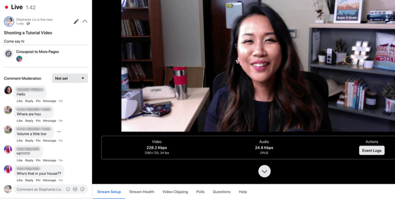 voorbeeld van Facebook-livestream zoals deze wordt weergegeven voor de streamhost met opmerkingen aan de linkerkant van het hoofdscherm, inclusief uw uitgezonden video en informatie over streaminstellingen