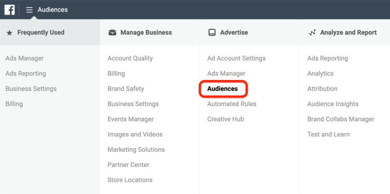 screenshot of the Audiences option circled in red in Facebook Ads Manager menu