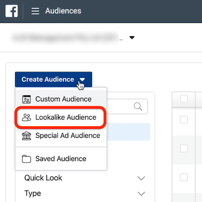 screenshot of the Lookalike Audience option circled in the Create Audience drop-down menu in Ads Manager