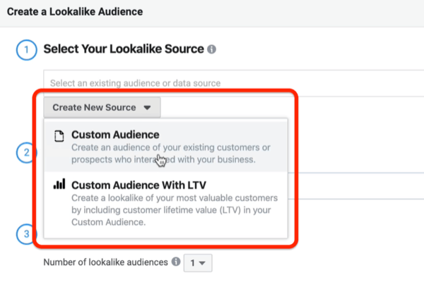 screenshot of the Create New Source drop-down menu circled in red in the Create a Lookalike Audience window